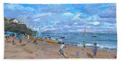 Beach Cricket Hand Towel by Andrew Macara
