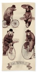 Bears On Bicycles Hand Towel by Eric Fan