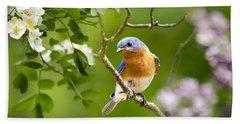 Beautiful Bluebird Hand Towel by Christina Rollo