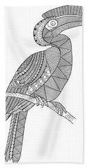 Bird Hornbill Hand Towel by Neeti Goswami