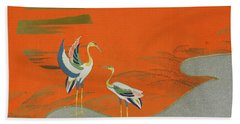 Birds At Sunset On The Lake Hand Towel by Kamisaka Sekka