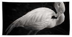 Black And White Flamingo Hand Towel by Adam Romanowicz