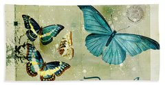 Blue Butterfly - S55c01 Hand Towel by Variance Collections