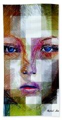 Blue Eyes Girl Hand Towel by Rafael Salazar