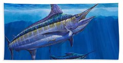 Blue Marlin Bite Off001 Hand Towel by Carey Chen