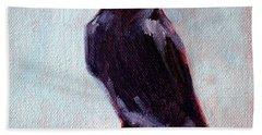 Blue Raven Hand Towel by Nancy Merkle