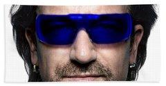 Bono Of U2 Hand Towel by Marvin Blaine