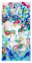 Bono Watercolor Portrait.1 Hand Towel by Fabrizio Cassetta