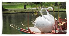 Boston Swan Boats Hand Towel by Barbara McDevitt
