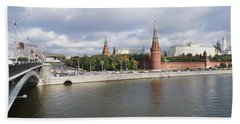 Bridge Across A River, Bolshoy Kamenny Hand Towel by Panoramic Images