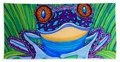 Bright Eyed Frog Hand Towel by Nick Gustafson