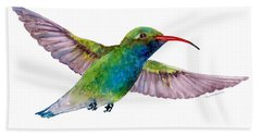 Broad Billed Hummingbird Hand Towel by Amy Kirkpatrick