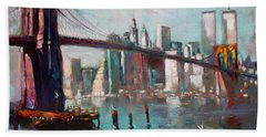 Brooklyn Bridge And Twin Towers Hand Towel by Ylli Haruni