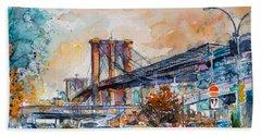 Brooklyn Bridge Hand Towel by Kovacs Anna Brigitta