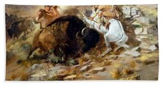 Buffalo Hunt Hand Towel by Charles Russell