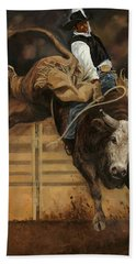 Bull Riding 1 Hand Towel by Don  Langeneckert