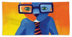 Business Cat Hand Towel by Mike Lawrence