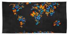 Butterfly Map Hand Towel by Mark Ashkenazi