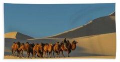 Camel Caravan In A Desert, Gobi Desert Hand Towel by Panoramic Images