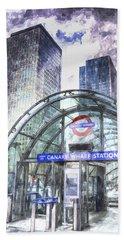 Canary Wharf Station Art Hand Towel by David Pyatt
