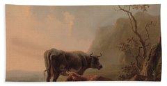 Cattle In An Italianate Landscape Hand Towel by Jacob van Strij