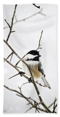 Charming Winter Chickadee Hand Towel by Christina Rollo
