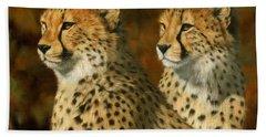 Cheetah Brothers Hand Towel by David Stribbling