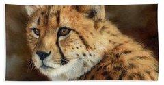 Cheetah Hand Towel by David Stribbling