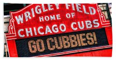 Chicago Cubs Wrigley Field Hand Towel by Christopher Arndt