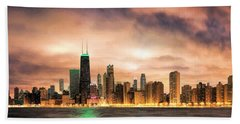 Chicago Gotham City Skyline Panorama Hand Towel by Christopher Arndt
