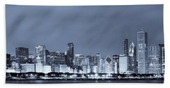 Chicago In Blue Hand Towel by Sebastian Musial