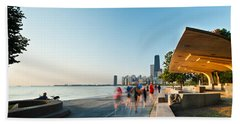 Chicago Lakefront Panorama Hand Towel by Steve Gadomski