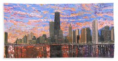 Chicago Skyline - Lake Michigan Hand Towel by Mike Rabe