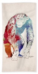 Chimpanzee Drawing - Design Hand Towel by World Art Prints And Designs