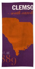 Clemson University Tigers College Town South Carolina State Map Poster Series No 030 Hand Towel by Design Turnpike