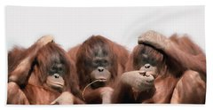 Close-up Of Three Orangutans Hand Towel by Panoramic Images