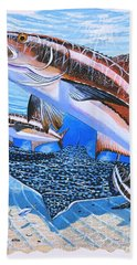 Cobia On Rays Hand Towel by Carey Chen