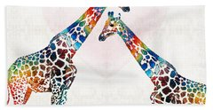 Colorful Giraffe Art - I've Got Your Back - By Sharon Cummings Hand Towel by Sharon Cummings