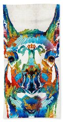 Colorful Llama Art - The Prince - By Sharon Cummings Hand Towel by Sharon Cummings