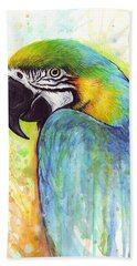 Macaw Painting Hand Towel by Olga Shvartsur