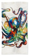 Colorful Octopus Art By Sharon Cummings Hand Towel by Sharon Cummings