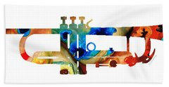 Colorful Trumpet Art By Sharon Cummings Hand Towel by Sharon Cummings