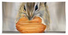Cookie Time- Squirrel Eating A Cookie Hand Towel by Lourry Legarde