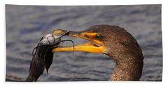 Cormorant Catching Catfish Hand Towel by Bruce J Robinson
