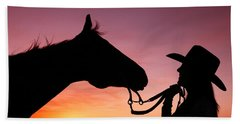 Cowgirl Sunset Hand Towel by Todd Klassy