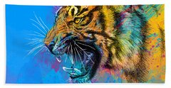 Crazy Tiger Hand Towel by Olga Shvartsur