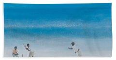 Cricket On The Beach, 2012 Acrylic On Canvas Hand Towel by Lincoln Seligman