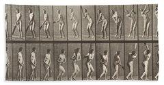Cricketer Hand Towel by Eadweard Muybridge