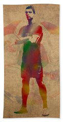 Cristiano Ronaldo Soccer Football Player Portugal Real Madrid Watercolor Painting On Worn Canvas Hand Towel by Design Turnpike