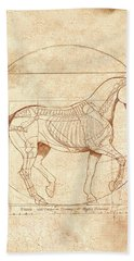da Vinci Horse in Piaffe Hand Towel by Catherine Twomey